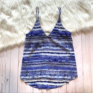 Rory Beca Blue Stripe Silk Tank Top
